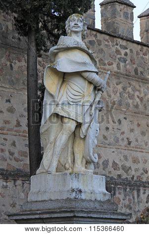 Toledo, Spain - August 24, 2012: Statue At The Puerta De Bisagra Nueva (the New Bisagra Gate) Of Tol