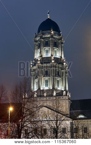 Neoclassicism tower at night in Berlin