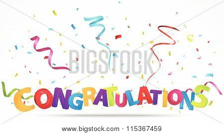 Congratulations celebration with confetti