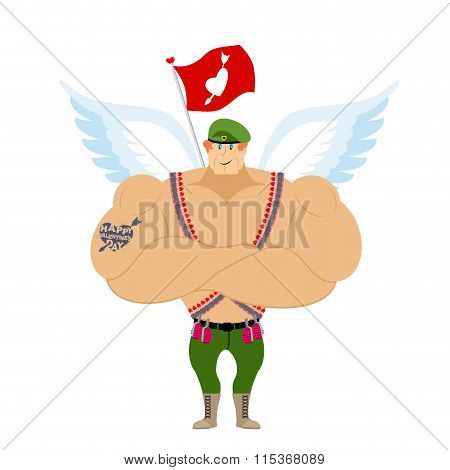 Cupid Troopers. Winged Landing. Military Angel For Valentines Day. Soldier With Wings. Red Ensign Wi