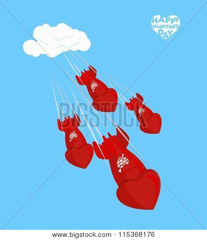 Love Bomb Fly To Land On February 14. Valentines Day. Shells, Charged Love. Red Missiles Of Mass Des