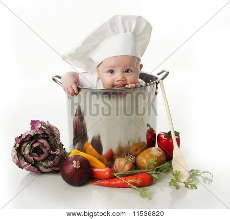 Licking Baby Sitting In A Chef's Pot