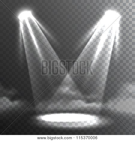 Two White Lights Beams Meet Banner