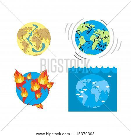 Apocalypse Types  End Of World. Earth Disasters. Set Of Catastrophes Of Earth. Drought - Cracks In E