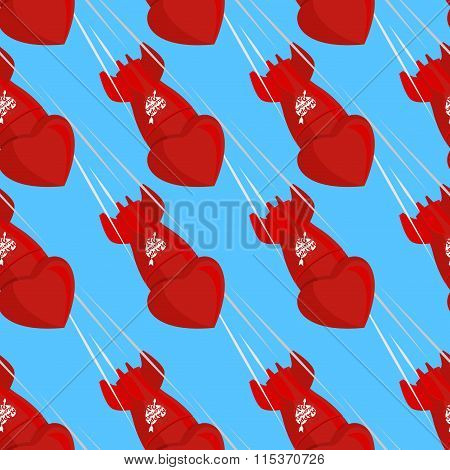 Ballistic Missiles Love. Shells Fall Down From Sky. Red Bomb Love For Saint Valentines Day. Seamless