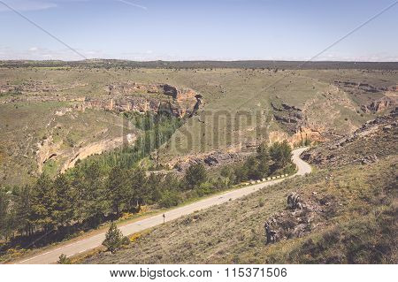 Duraton Canyon And Sepulveda. Segovia. Castilla Leon. Spain. Europe.