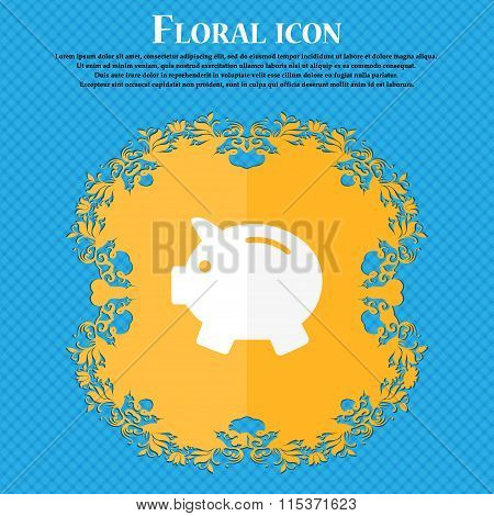 Piggy Bank - Saving Money Icon. Floral Flat Design On A Blue Abstract Background With Place For