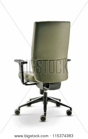 Office Chair With Armrests Green Leather Back View