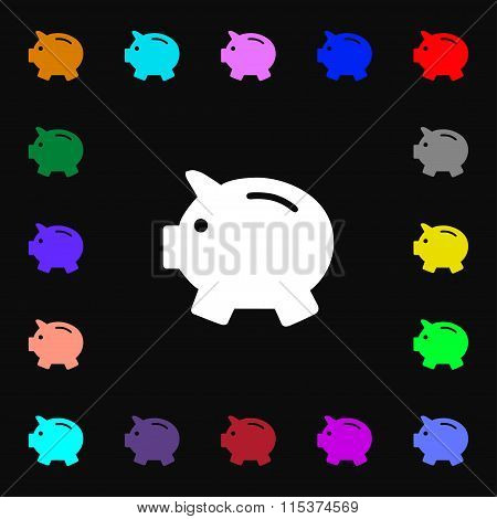 Piggy Bank - Saving Money Icon Sign. Lots Of Colorful Symbols For Your Design.