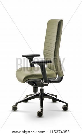 Office Chair With Armrests Green Leather Side View