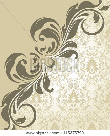 Vintage invitation card with ornate elegant retro abstract floral leaves design, grayish yellow flowers on pale yellow green background. Vector illustration.
