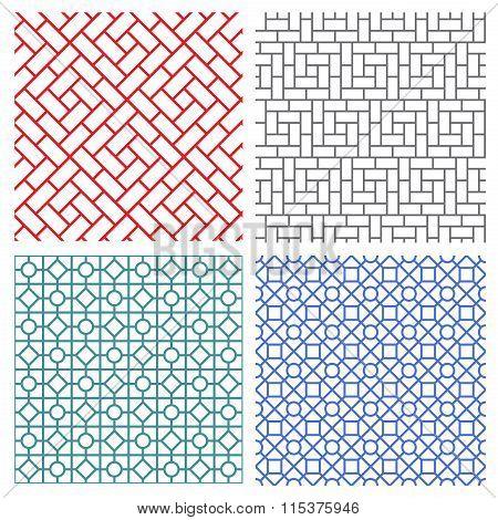 Seamless Mesh Line Pattern In Korean Style