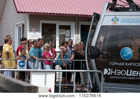 SOCHI, Russian federation - october 22 2011,tourists landing in the lift cable car, Sochi