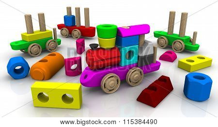 Disassembled wooden train constructor. Colorful wooden toy train on a white surface. Isolated. The three-dimensional illustration poster