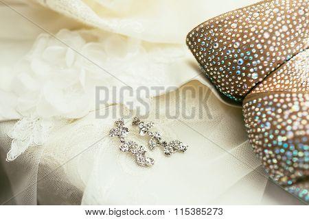 Brides Ear-rings On Wedding Dress Background