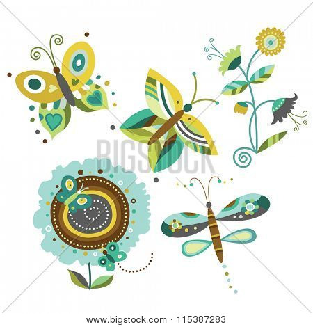 Collection of nature elements - flowers, butterflies, dragonfly