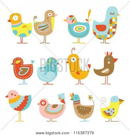 Collection of cute, colorful chickens