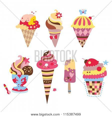 Collection of yummy ice creams with various shapes and flavors.