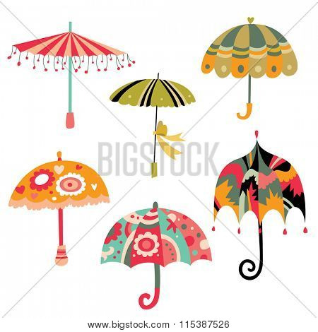 Collection of cute colorful umbrellas.