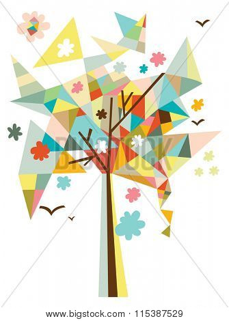 Contemporary design with geometric tree, flowers and birds.