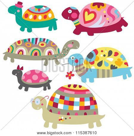 A bunch of adorable turtles with colorful decorations.