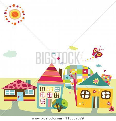 Background featuring a cute village or city, with fun colors and childlike style.