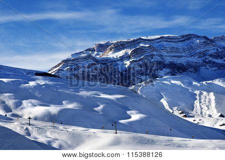 Ski Resort And Sunlight Rocks At Sunset