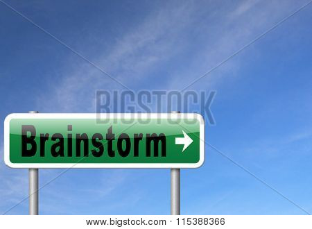 Brainstorm teamwork to creative fresh idea or solution team brainstorming search innovation and inspiration think tank, road sign billboard.