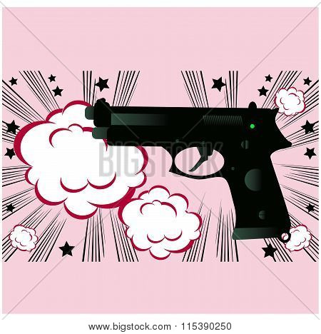 Pop Art Weapon Boom Background Banner Template