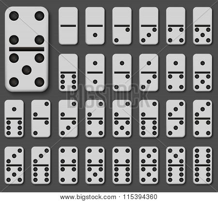Vector modern domino set on gray background.