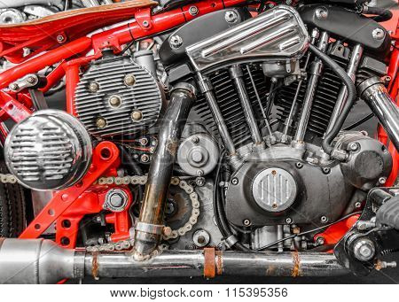 Close-up Of An Engine On A Chopper Bike. Horizontal Side View Of A V2 Engine On A Chopper..