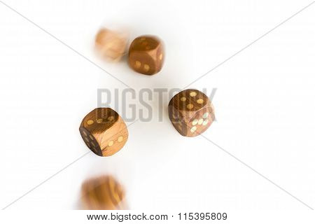 Rolling Dice On White Background