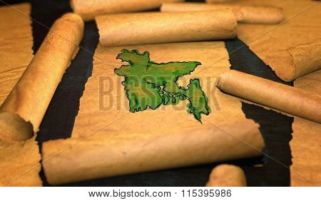 Bangladesh Map Painting Unfolding Old Paper Scroll 3D