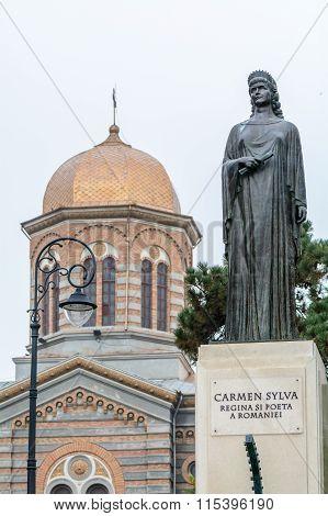 Constanta, Romania - December 26: Carmen Silva Statue Near Center Church, Constanta, Romania. Queen