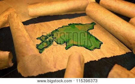 Estonia Map Painting Unfolding Old Paper Scroll 3D