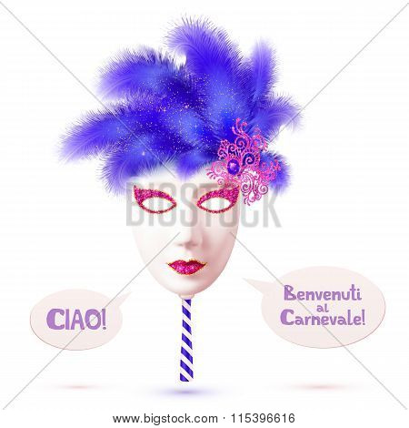 White realistic vector carnival mask with blue feathers and speech bubbles