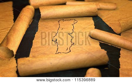 Portugal Map Drawing Unfolding Old Paper Scroll 3D