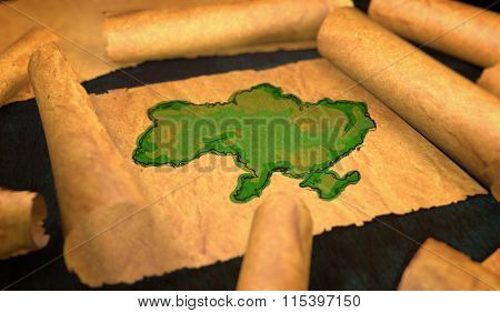 Ukraine Map Painting Unfolding Old Paper Scroll 3D
