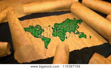 World Map Painting Unfolding Old Paper Scroll 3D