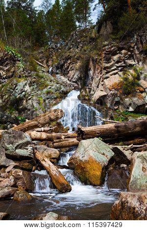 Beautiful Waterfall In The Rocks
