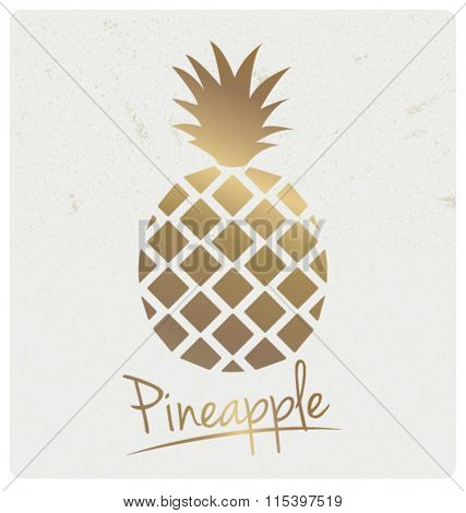 GOLD FOIL PINEAPPLE DESIGN. Can be use as poster, wall art, card, print...