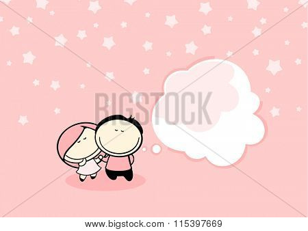 Valentine's day greeting card with cute couple and thought bubble window for your text (raster version)