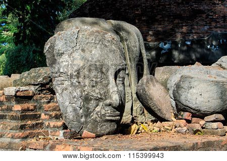Statue Buddha Head Remain and Pagoda of King Borommarachathirat II of the Ayutthaya Kingdom