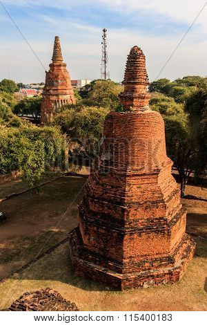 City building remain, Buddha statue remain of Wat Phra Sri Sanphet Temple in Ayutthaya, Thailand