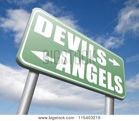 devils and angels good or bad heaven and hell road sign arrow poster