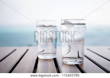 Glass of iced water at restaurant
