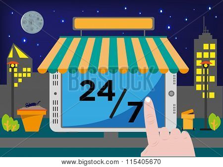 Online Shop App. Point of Sale System (POS) or Buying stuff via Internet for 24 hours, 7 days
