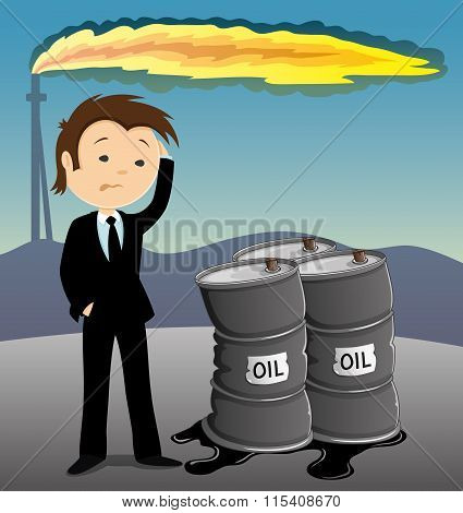 Businessman and barrels with oil.