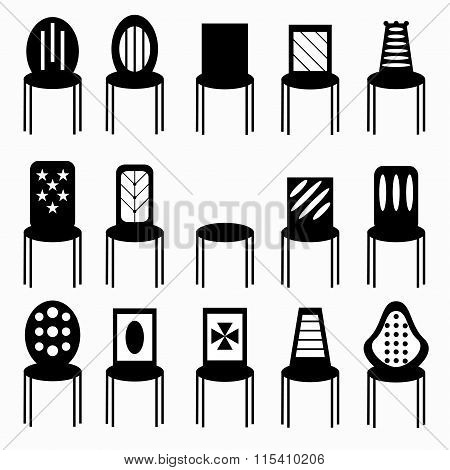 Chairs Monochrome Symbols Vector Illustration