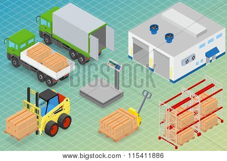 Loading or unloading a truck in the warehouse. Forklifts move the cargo. Warehouse equipment. Isomet
